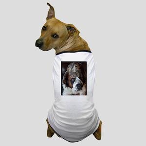 St. Bernard with Camoflauge Cap Dog T-Shirt