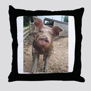 Funny Muddy Red Pig Throw Pillow