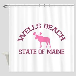 Wells Beach ME - Moose Design. Shower Curtain