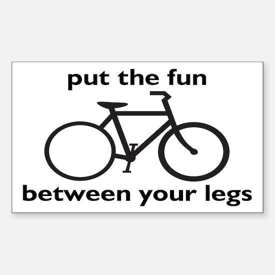 Bike: Fun Between Your Legs Sticker (Rectangle)