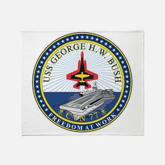 USS Bush CVN 77 Throw Blanket