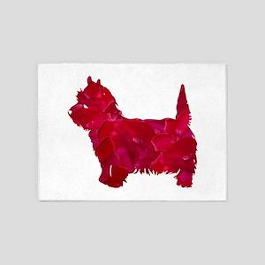 Westie art red pink 5'x7'Area Rug