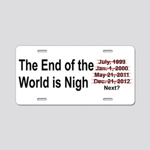 End of the World is Nigh bumper Aluminum License P