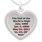 End of the World is Nigh button Silver Heart Neckl
