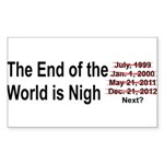 End of the World is Nigh button Sticker (Rectangle