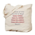 End of the World is Nigh button Tote Bag
