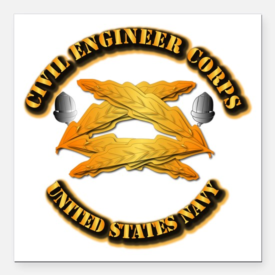 """Navy - Civil Engineer Corps Square Car Magnet 3"""" x"""