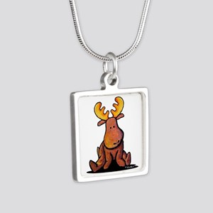 KiniArt Moose Silver Square Necklace