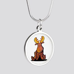 KiniArt Moose Silver Round Necklace