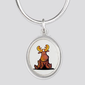 KiniArt Moose Silver Oval Necklace