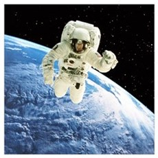 Composite image of a spacewalk over Earth Poster