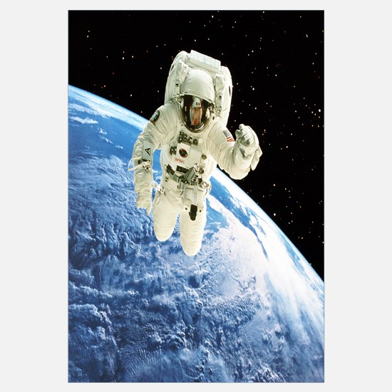 Composite image of a spacewalk over Earth