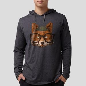 Hipster Fox Mens Hooded Shirt