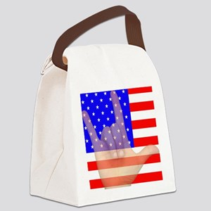 Flag and ASL ILY Hand Canvas Lunch Bag