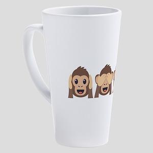 Hear See Speak No Evil Monkey 17 oz Latte Mug