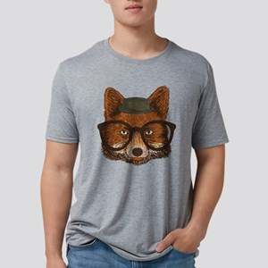 Hipster Fox Mens Tri-blend T-Shirt