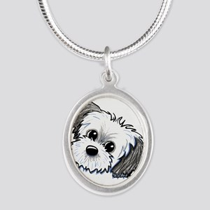 Shih Tzu Sweetie Silver Oval Necklace
