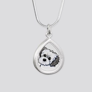 Shih Tzu Sweetie Silver Teardrop Necklace
