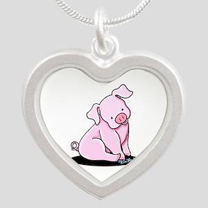 Pretty Little Piggy Silver Heart Necklace