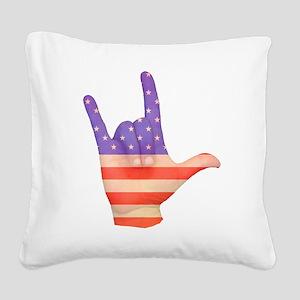 USA Flag ILY sign language hand Square Canvas Pill