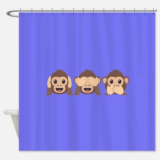 Hear See Speak No Evil Monkey Shower Curtain