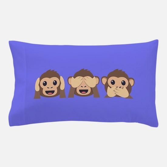 Hear See Speak No Evil Monkey Pillow Case