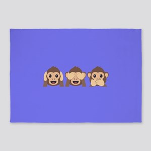 Hear See Speak No Evil Monkey 5'x7'Area Rug