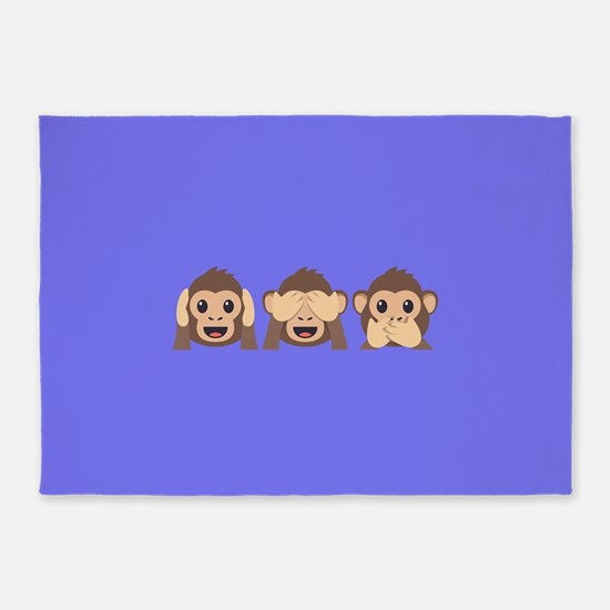 Hear See Speak No Evil Monkey 5'x7'Area Rug