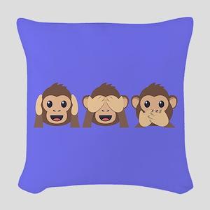 Hear See Speak No Evil Monkey Woven Throw Pillow
