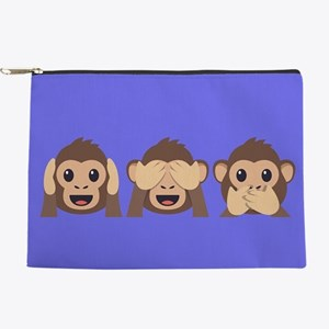 Hear See Speak No Evil Monkey Makeup Pouch