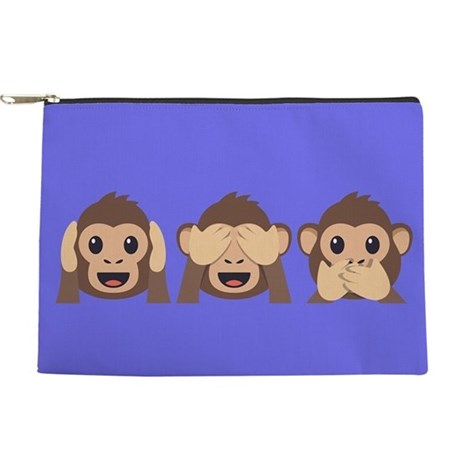 Hear See Speak No Evil Monkey Makeup Pouch