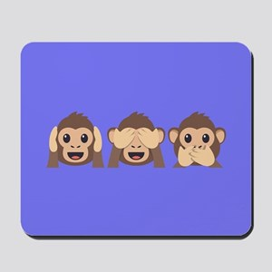 Hear See Speak No Evil Monkey Mousepad