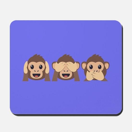 Hear See Speak No Evil Monkey Mousepad