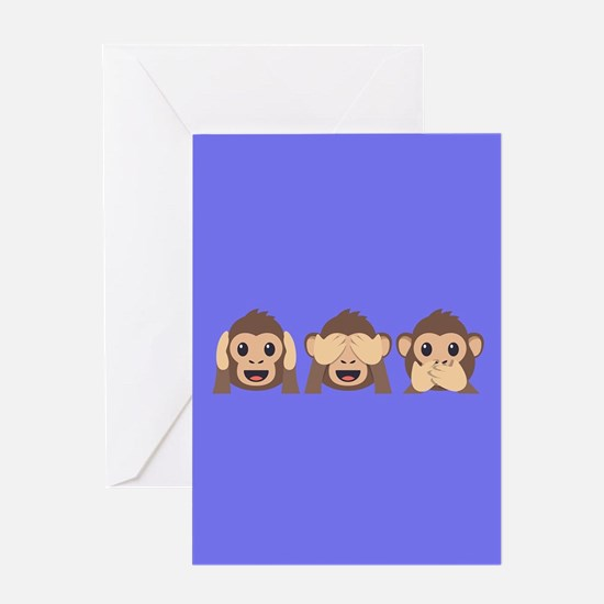 Hear See Speak No Evil Monkey Greeting Card