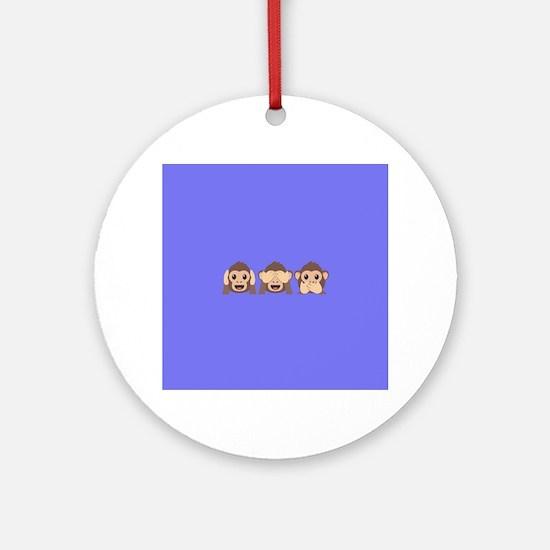 Hear See Speak No Evil Monkey Round Ornament