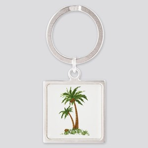 Twin Palm Tree Square Keychain