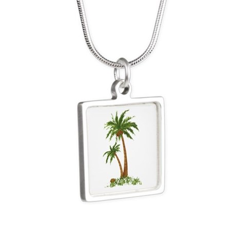 Twin Palm Tree Silver Square Necklace