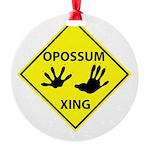 Opossum Crossing Round Ornament