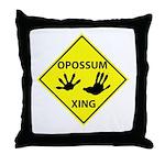 Opossum Crossing Throw Pillow