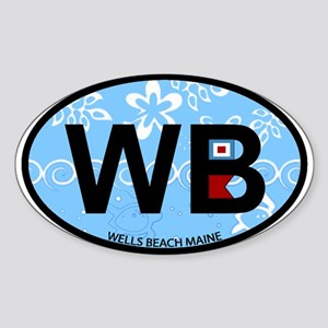 Wells Beach ME - Oval Design. Sticker (Oval)
