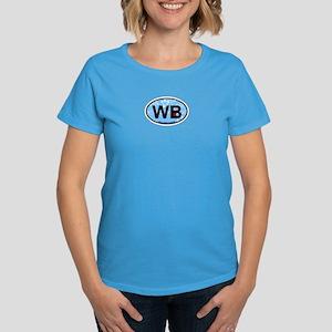 Wells Beach ME - Oval Design. Women's Dark T-Shirt