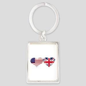 USA and UK Heart Flag Portrait Keychain