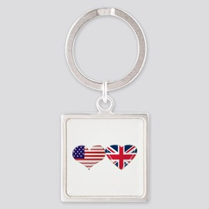 USA and UK Heart Flag Square Keychain