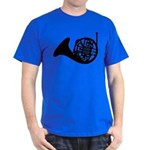 French Horn Silhouette on Dark T-Shirt