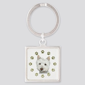 West Highland White and Paws Art Square Keychain