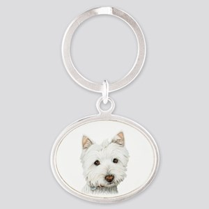 Cute West Highland White Terrier Dog Oval Keychain