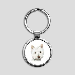 Cute West Highland White Terrier Dog Round Keychai