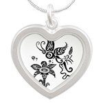 Black and White Tribal Butterfly Silver Heart Neck