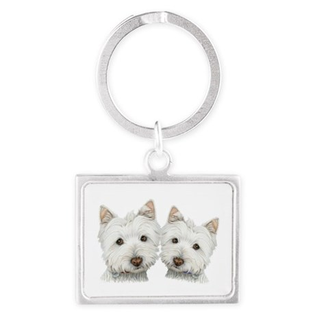 Two Cute West Highland White Dogs Landscape Keycha