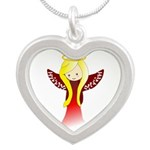 Cute Angel in Red Silver Heart Necklace